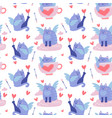 seamless pattern with funny winged cats feline vector image