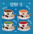 set of cups with different tea in cartoon style vector image
