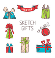 set of hand drawn gifts vector image