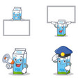 set of milk box character with board megaphone vector image vector image