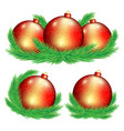 set red christmas balls vector image vector image