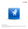 shopping cart and delete sign - 3d blue button vector image vector image