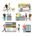 shopping shop people in supermarket family buyers vector image vector image