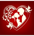 silhouette of a heart with two lovers vector image vector image