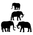 silhouettes of African elephants vector image vector image