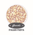 sticker with hand drawn pattern with pasta gnocchi vector image vector image