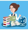 teacher woman with glasses read books with globe vector image vector image