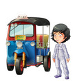 thai driver and tuk tuk vector image
