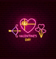 valentines day neon label vector image