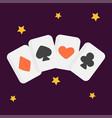 vintage retro poker cards art style gambler vector image vector image