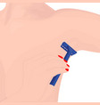 woman epilates her armpit with a razor vector image vector image