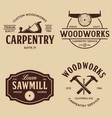 woodwork badges set carpentry woodworkers vector image