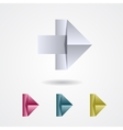 Origami arrow sign on a white background vector image