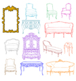 authentic rococo furniture vector image vector image