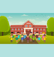 back to school cute school kids stand in front of vector image vector image