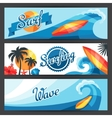 Banners with surfing design elements and objects vector image vector image