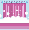 bathtub foam bubbles and curtain bathroom vector image vector image