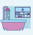 bathtub shower and cabinet towels toothbrushes vector image