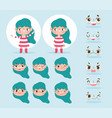 cartoon character animation little girl with green vector image