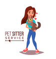 cat pet sitter service professional pet vector image