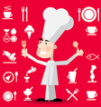 Chef Cartoon with Restaurant Menu Icons on Red vector image vector image