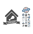 Chicken Cafe Flat Icon With Bonus vector image