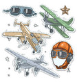 colorful sticker set retro old aircraft pilot vector image