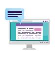 computer desktop with speech bubble vector image vector image