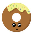 cute donut on white background vector image vector image