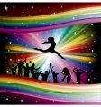 dancers on rainbow vector image vector image