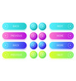 gradient buttons next and back button colorful vector image vector image