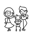 hand drawing abstract cartoon happy people family vector image