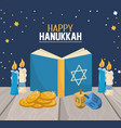 hanukkah book with candles and spin decoration vector image vector image