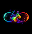infinity with rainbow butterfly vector image vector image