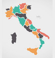 italian map with regions and modern round shapes vector image