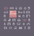 line furniture icons set in vector image