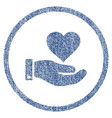 love heart offer hand rounded fabric textured icon vector image vector image