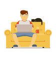 man with laptop on sofa isolated on white vector image