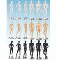 mannequins 3 color realistic sets vector image