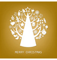 Merry Christmas Golden Card vector image
