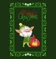 merry christmas greeting postcard elf with sack vector image vector image
