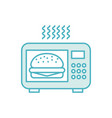 microwave oven with delicious burger vector image