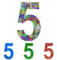Mosaic font design set - number 5 vector image vector image