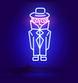 neon spy in a cloak and glasses in the dark vector image