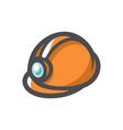 orange helmet for builder worker icon vector image