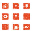 pack ice icons set grunge style vector image