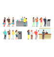 queues of people set man and woman vector image vector image