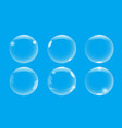 realistic 3d soap bubble with on blue background vector image vector image