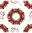 Red berry christmas wreath on white background