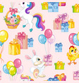 seamless pattern animals happy birthday pink vector image vector image